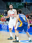 Real Madrid's Sergio Llull and UCAM Murcia's Facundo Campazzo during the first match of the playoff at Barclaycard Center in Madrid. May 27, 2016. (ALTERPHOTOS/BorjaB.Hojas)