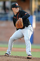 Delmarva Shorebirds starting pitcher Dylan Bundy #7 delivers a pitch during his professional debut  during a game between the Delmarva Shorebirds and the Asheville Tourists at McCormick Field, Asheville, North Carolina April 6, 2012. The Shorebirds won the game 7-2  (Tony Farlow/Four Seam Images)..