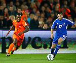 Nederland, Rotterdam, 12 oktober 2012.Kwalificatiewedstrijd WK 2014.Nederland-Andorra .Ruben Schaken (l.) van Oranje passeert Victor Moreira Teixeira (r.) van Andorra.