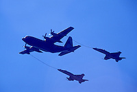 Probe-and-Drogue Aerial Refueling of Military Aircraft - Lockheed C-130 Hercules to CF-18 (aka F/A-18) Hornets - at Abbotsford International Airshow, BC, British Columbia, Canada