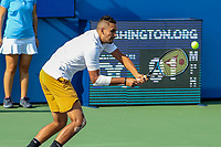 Washington, DC - August 4, 2019:  Nick Kyrgios (AUS) returns a shot during the Citi Open ATP Singles final at William H.G. FitzGerald Tennis Center in Washington, DC  August 4, 2019.  (Photo by Elliott Brown/Media Images International)