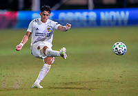 13th July 2020, Orlando, Florida, USA;  Los Angeles Galaxy forward Cristian Pavon (10) shoots during the MLS Is Back Tournament between the LA Galaxy versus Portland Timbers on July 13, 2020 at the ESPN Wide World of Sports, Orlando FL.