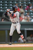 Center fielder Cristian Pache (25) of the Rome Braves bats in game two of a doubleheader against the Greenville Drive on Tuesday, May 30, 2017, at Fluor Field at the West End in Greenville, South Carolina. Rome won, 10-7. (Tom Priddy/Four Seam Images)
