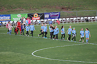 Piscataway, NJ, May 7, 2016. A youth team from PDA participates in the parade at half time of the Sky Blue game. The Western New York Flash defeated Sky Blue FC, 2-1, in a National Women's Soccer League (NWSL) match at Yurcak Field.