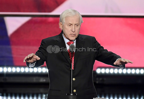 Fran Tarkenton, former NFL Quarterback, Media Personality, and Businessman makes remarks at the 2016 Republican National Convention held at the Quicken Loans Arena in Cleveland, Ohio on Thursday, July 21, 2016.<br /> Credit: Ron Sachs / CNP/MediaPunch<br /> (RESTRICTION: NO New York or New Jersey Newspapers or newspapers within a 75 mile radius of New York City)