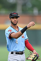 Left fielder Pedro Gonzalez (4) of the Hickory Crawdads warms up before a game against the Greenville Drive on Monday, July 23, 2018, at Fluor Field at the West End in Greenville, South Carolina. Hickory won, 6-1. (Tom Priddy/Four Seam Images)