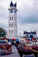 West Sumatra, Bukittinggi. Jam Gadang, the characteristic clock tower, a landmark in Bukittinggi. The structure was built in 1926 during the Dutch colonial era.