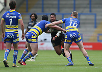Hull FC's Mickey Paea is tackled by Warrington Wolves' Mike Cooper (right and Chris Hill <br /> <br /> Photographer Stephen White/CameraSport<br /> <br /> Betfred Super League Round 15 - Warrington Wolves v Hull FC - Saturday 18th May 2019 - Halliwell Jones Stadium - Warrington<br /> <br /> World Copyright © 2019 CameraSport. All rights reserved. 43 Linden Ave. Countesthorpe. Leicester. England. LE8 5PG - Tel: +44 (0 116 277 4147 - admin@camerasport.com - www.camerasport.com