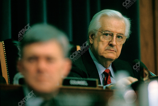 Representative Henry Hyde (R-IL), Chair of the House Judiciary Committee, during the impeachment hearings of President William (Bill) Clinton. Washington, D.C., December 1998.