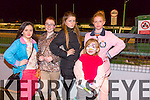 Nikita Hallissey, Lauren Walsh Hayes, Paige Hallissey, Patricia Burke, Mia McElligott. enjoying the Night at the Dogs in aid of  St Ita's And St Joseph's Kingdom Greyhound on Friday