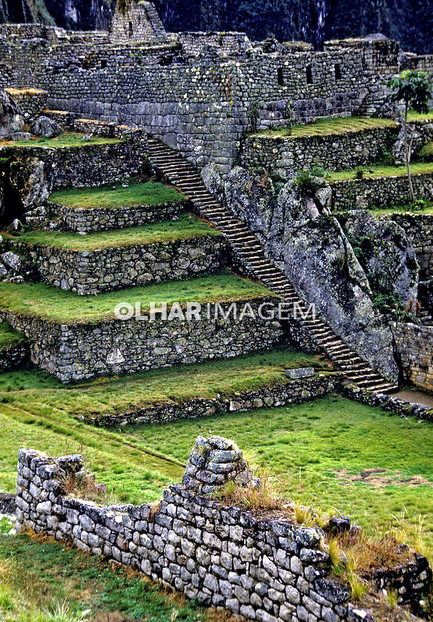Detalhe da cidade Inca Machu Pichu. Perú. Foto de Juca Martins. Data: 1994