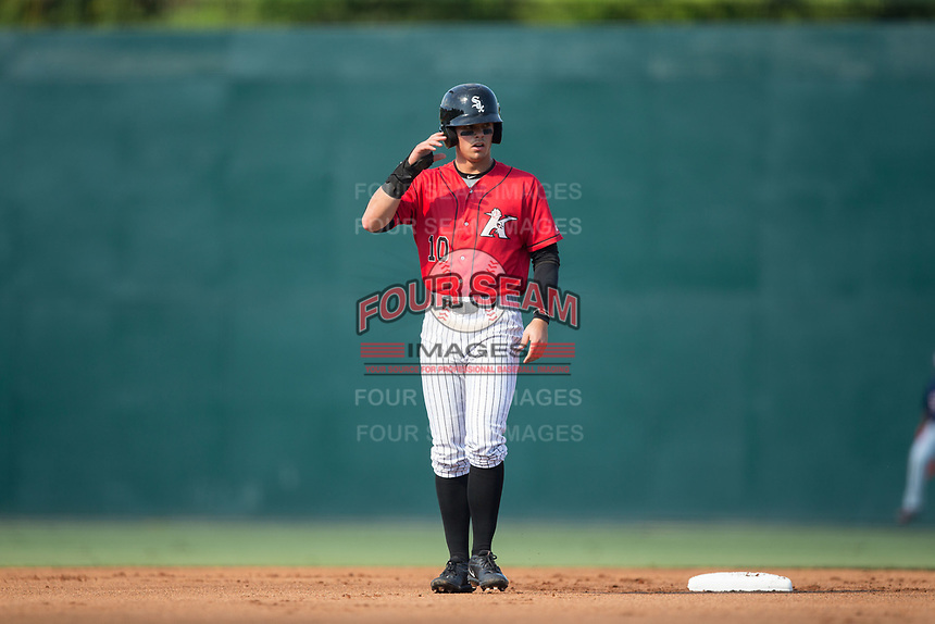 Mitch Roman (10) of the Kannapolis Intimidators takes his lead off of second base against the Hagerstown Suns at Kannapolis Intimidators Stadium on June 14, 2017 in Kannapolis, North Carolina.  The Intimidators defeated the Suns 4-1 in game one of a double-header.  (Brian Westerholt/Four Seam Images)