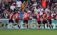 Pictured: Juan Mata of Manchester United celebrates his opening goal Sunday 30 August 2015<br /> Re: Premier League, Swansea v Manchester United at the Liberty Stadium, Swansea, UK