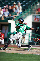 Dayton Dragons third baseman Junior Arias #24 during a Midwest League game against the Fort Wayne TinCaps at Parkview Field on August 19, 2012 in Fort Wayne, Indiana.  Dayton defeated Fort Wayne 5-1.  (Mike Janes/Four Seam Images)