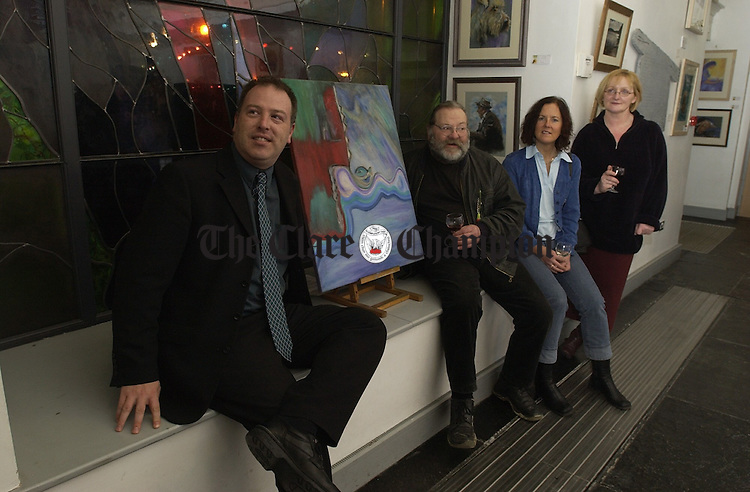 At the official opening of the Clare Associationn of Artists and Craftworkers Exhibition at the County Museum were, John Rattigan, curator, with artists; Bear, Rena Casey Lewis and Helene Ryan English. Photograph by John Kelly.