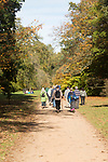 People walking along pathways in National arboretum, Westonbirt arboretum, Gloucestershire, England, UK