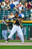 Quintin Berry (19) of the Salt Lake Bees at bat against the Las Vegas 51s in Pacific Coast League action at Smith's Ballpark on June 19, 2016 in Salt Lake City, Utah. The 51s defeated the Bees 8-1. (Stephen Smith/Four Seam Images)