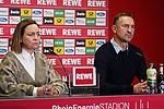 08.11.2019, RheinEnergieStadion, Koeln, GER, 1. FBL, 1.FC Koeln vs. TSG 1899 Hoffenheim,<br />  <br /> DFL regulations prohibit any use of photographs as image sequences and/or quasi-video<br /> <br /> im Bild / picture shows: <br /> Pressekonferenz (PK) nach dem Spiel,  Achim Beierlorzer Trainer, Headcoach (1.FC Koeln),ist sehr angespannt<br /> li #Lil Zercher Pressesprecherin ( 1. FC Koeln), <br /> Foto © nordphoto / Meuter