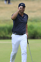 Paul Casey (ENG) sinks his putt on the 17th green during Saturday's Round 3 of the Porsche European Open 2018 held at Green Eagle Golf Courses, Hamburg Germany. 28th July 2018.<br /> Picture: Eoin Clarke | Golffile<br /> <br /> <br /> All photos usage must carry mandatory copyright credit (&copy; Golffile | Eoin Clarke)