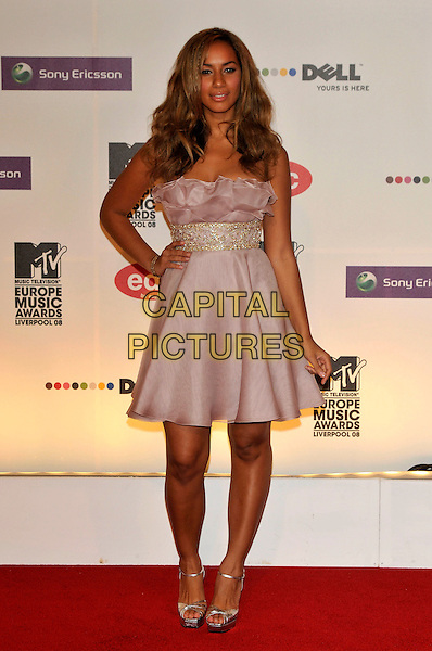 LEONA LEWIS.2008 MTV Europe Music Awards arrivals at Echo Arena, Liverpool, England..6th November 2008.EMA full length pink lilac purple strapless dress hand on hip .CAP/PL.©Phil Loftus/Capital Pictures.