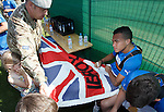 Rangers army visit in Germany - Arnold Peralta signs for the troops
