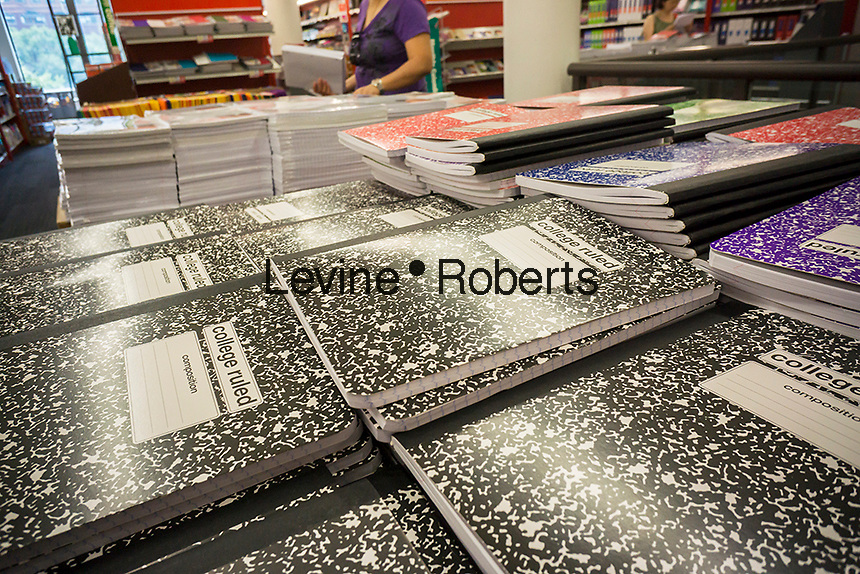 Back to school supplies are seen in a Staples store in New York on Wednesday, July 29, 2015. (© Richard B. Levine)