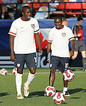 06 July 2007: USA's Josmer Altidore (left) and Freddy Adu (11), pregame. The Under-20 Men's National Team of the United States defeated Brazil's Under-20 Men's National Team 2-1 in a Group D opening round match at Frank Clair Stadium in Ottawa, Ontario, Canada during the FIFA U-20 World Cup Canada 2007 tournament.
