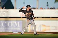 Jupiter Hammerheads shortstop Micah Brown (5) throws to first base during a Florida State League game against the Bradenton Marauders on April 20, 2019 at LECOM Park in Bradenton, Florida.  Bradenton defeated Jupiter 3-2.  (Mike Janes/Four Seam Images)