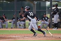 Chicago White Sox catcher Zach Collins (33) starts down the first base line during an Instructional League game against the San Diego Padres on September 26, 2017 at Camelback Ranch in Glendale, Arizona. (Zachary Lucy/Four Seam Images)
