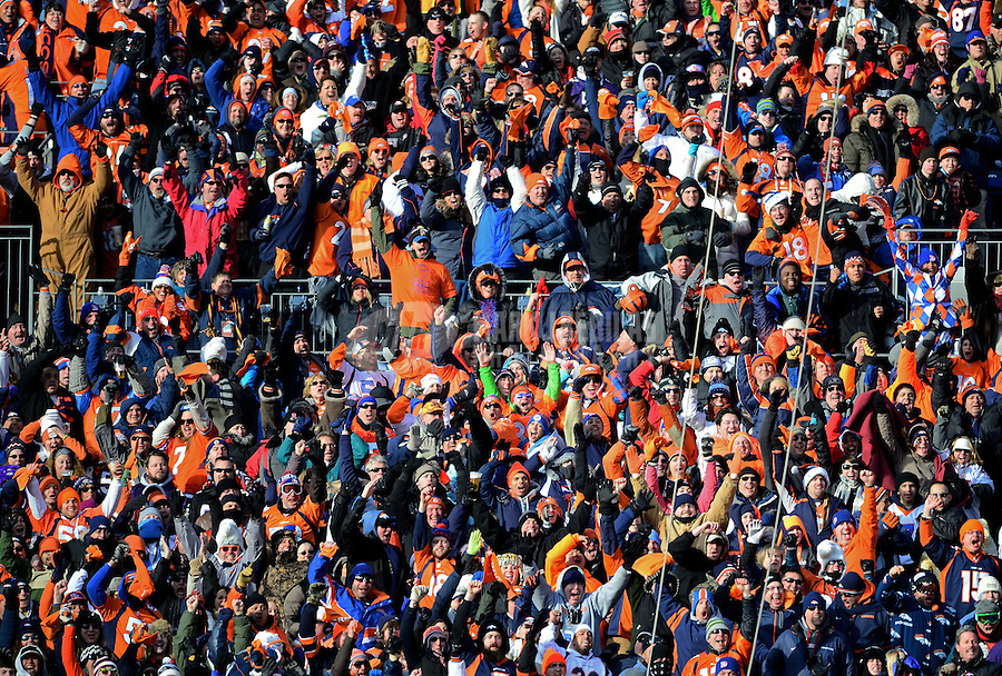 Jan 12, 2013; Denver, CO, USA; Denver Broncos fans in the grandstands against the Baltimore Ravens during the AFC divisional round playoff game at Sports Authority Field.  Mandatory Credit: Mark J. Rebilas-