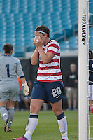 February 9, 2013:  USA Women's National Team forward Amy Wambach (20) reacts after missing a goal shot during action between the USA Women's National Team and Scotland at EverBank Field in Jacksonville, Florida.  USA defeated Scotland 4-1............