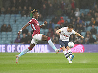 Preston North End's Andrew Hughes  battles with  Aston Villa's Tammy Abraham <br /> <br /> Photographer Mick Walker/CameraSport<br /> <br /> The EFL Sky Bet Championship - Aston Villa v Preston North End - Tuesday 2nd October 2018 - Villa Park - Birmingham<br /> <br /> World Copyright &copy; 2018 CameraSport. All rights reserved. 43 Linden Ave. Countesthorpe. Leicester. England. LE8 5PG - Tel: +44 (0) 116 277 4147 - admin@camerasport.com - www.camerasport.com