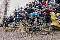 Michael Goolaerts (BEL/V&eacute;randas Willems-Crelan) up the infamous Kapelmuur /Muur van Geraardsbergen<br /> <br /> 102nd Ronde van Vlaanderen 2018 (1.UWT)<br /> Antwerpen - Oudenaarde (BEL): 265km
