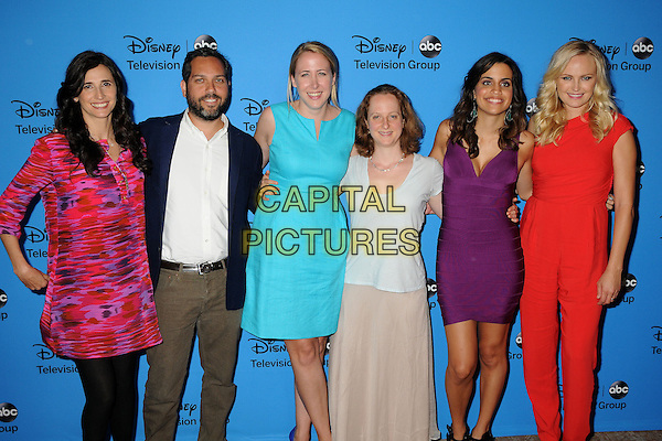 Michaela Watkins, Lee Eisenberg, Sarah Haskins, Emily Halpern, Natalie Morales, Malin Akerman<br /> Disney/ABC Summer 2013 TCA Press Tour held at the Beverly Hilton Hotel, Beverly Hills, California, USA.<br /> August 4th, 2013<br /> half length pink purple dress white shirt beard facial hair blue red jumpsuit <br /> CAP/ADM/BP<br /> &copy;Byron Purvis/AdMedia/Capital Pictures