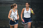 April 22, 2015; San Diego, CA, USA; Loyola Marymount Lions tennis players Lisa Piller (left) and Ellie Grossman (right) during the WCC Tennis Championships at Barnes Tennis Center.