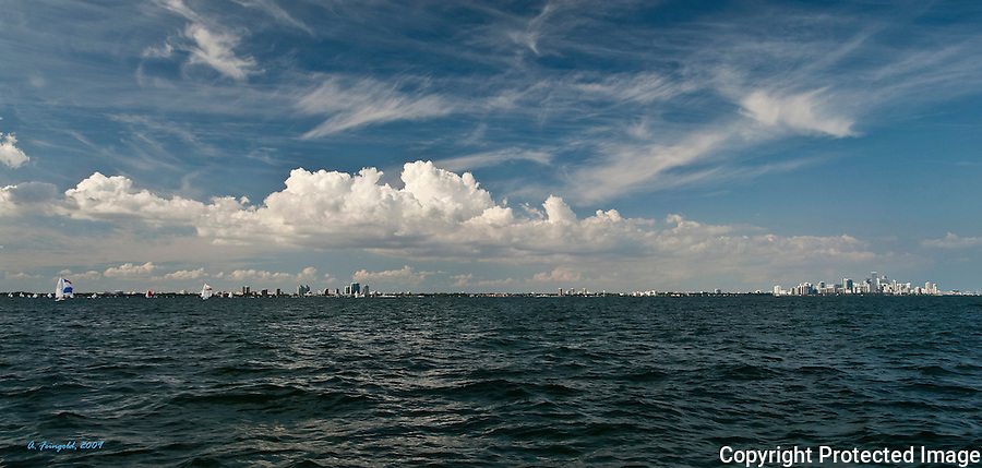 Panorama View of Miami Florida, Clouds Over Biscayne Bay, Atlantic Ocean, View of Coconut Grove, View Of Downtown Miami<br />