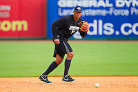 Alex Rodriguez #13 of the New York Yankees during fielding practice at Joseph P. Riley Park on July 2, 2013 in Charleston, South Carolina.  Rodriguez began a rehab stint with the Charleston RiverDogs, the South Atlantic League affiliate of the New York Yankees.   (Brian Westerholt/Four Seam Images)