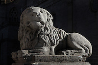 Lion sculpture, in front of Avila Cathedral (12th-14th centuries), Avila, Spain Avila, Castile and Leon, Spain. Picture by Manuel Cohen