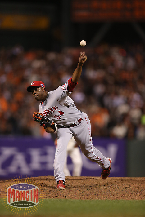 SAN FRANCISCO - OCTOBER 6:  Aroldis Chapman of the Cincinnati Reds pitches during Game 1 of the NLDS against the San Francisco Giants at AT&T Park on October 6, 2012 in San Francisco, California. (Photo by Brad Mangin)