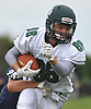 Artur Garmatiuk #88 of Lindenhurst fights for yards after making a catch in a Suffolk County Division I varsity football game against Northport at Glenn High School on Saturday, Sept. 2, 2017.