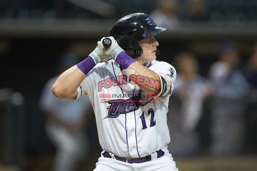 Andrew Vaughn (12) of the Winston-Salem Dash at bat against the Lynchburg Hillcats at BB&T Ballpark on August 1, 2019 in Winston-Salem, North Carolina. The Dash defeated the Hillcats 9-7. (Brian Westerholt/Four Seam Images)