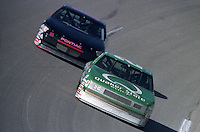 Ricky Rudd 26 Ron Esau 18 action Winston 500 at Talladega Superspeedway in Talladega , AL in May 1989.  (Photo by Brian Cleary/www.bcpix.com)