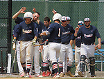 WATERBURY, CT - 06 AUGUST 2017 - 080617JW08.jpg -- #1 Sean Keady  of the Braintree White Sox is congratulated by his teamates after scoring against the North Haledon Reds Sunday afternoon at Waterbury Municipal Stadium during the Stan Musial East Coast World Series. Jonathan Wilcox Republican-American