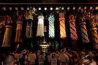 A mikoshi or portable shrine is carried through the entrance gate of the shrine during the Mitama matsuri or festival of remembrance at the controversial Yasukuni Shrine in Chiyoda, Tokyo, Japan. Tuesday, July 13th 2010