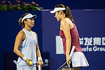 Ying-Ying Duan (R) and Xinyun Han (L) of China talk during the doubles Round Robin match of the WTA Elite Trophy Zhuhai 2017 against Raluca Olaru of Romania and Olga Savchuk of Ukraine at Hengqin Tennis Center on November  02, 2017 in Zhuhai, China.Photo by Yu Chun Christopher Wong / Power Sport Images