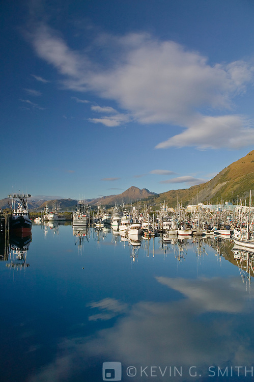 St. Paul Harbor and Chiniak bay, sunrise, fall, Kodiak Alaska, USA