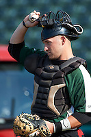 South Bend Silver Hawks catcher Bryan Henry #31 during practice before a Midwest League game against the West Michigan Whitecaps at Coveleski Stadium on August 15, 2012 in South Bend, Indiana.  West Michigan defeated South bend 7-1.  (Mike Janes/Four Seam Images)