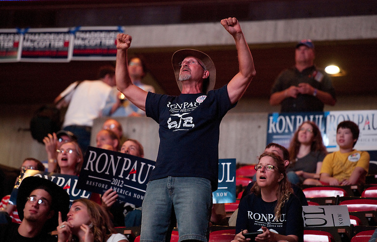 UNITED STATES - AUGUST 13:  A supporter of Republican presidential candidate Ron Paul celebrates when he sees that Paul finished second at the Ames Straw Poll at Iowa State University in Ames, Iowa.  (Photo By Tom Williams/Roll Call)