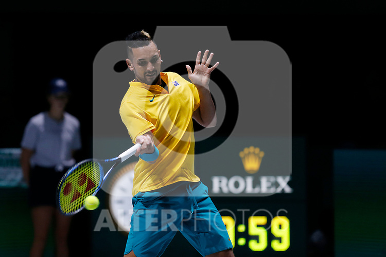 Alejandro Gonzalez of Colombia plays a forehand against Alejandro Gonzalez of Colombia during Day 2 of the 2019 Davis Cup at La Caja Magica on November 19, 2019 in Madrid, Spain. (ALTERPHOTOS/Manu R.B.)
