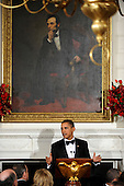 Washington, DC - February 22, 2009 -- United States President Barack Obama makes remarks as he welcomes the nation's governors to a black-tie dinner at the White House,  Sunday, February 22, 2009.  The National Governors Association has been holding their 2009 Winter Meeting this weekend, where the nation's governors have been discussing Obama's stimulus program, as well as health care, infrastructure and education.     .Credit: Mike Theiler / Pool via CNP